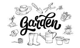 Het van letters voorzien Tuinwoord door de attributen dat van de tuinman wordt omringd vector illustratie