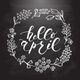 Het van letters voorzien van Hello April typografie Royalty-vrije Stock Fotografie
