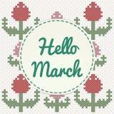 Het van letters voorzien van Hello Maart met tulpen, imitatie van dwars-steek Stock Fotografie