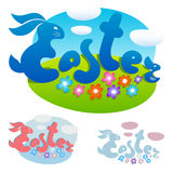 Het van letters voorzien van Pasen met konijn Stock Fotografie