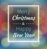 Het van letters voorzien Vrolijke Kerstmis en Gelukkig Nieuwjaar Royalty-vrije Stock Afbeelding