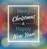 Het van letters voorzien Vrolijke Kerstmis en Gelukkig Nieuwjaar Stock Foto
