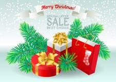 Het van letters voorzien Vrolijke Kerstmis, Speciale aanbieding, Verkoop, Beste Keus Royalty-vrije Stock Foto