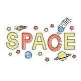 Het van letters voorzien het woord plaatst met vlak ruimtepictogram uit elkaar royalty-vrije illustratie