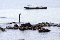 Het vangen van de zon (Lamalera, Indonesië) Royalty-vrije Stock Fotografie