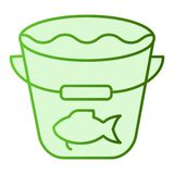 Het vangst vlakke pictogram De visserij van emmer groene pictogrammen in in vlakke stijl Emmer met water en vissen het ontwerp va stock illustratie