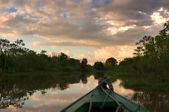 Het varen in Amazonië bij zonsondergang Stock Afbeeldingen