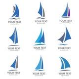 Het varen de vector van het bootembleem Stock Afbeeldingen