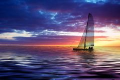 Het varen en zonsondergang stock foto's