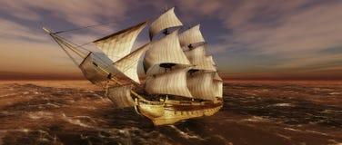 Het varen en zonsondergang stock illustratie