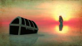 Het varen en zonsondergang vector illustratie