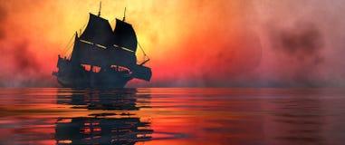 Het varen en zonsondergang royalty-vrije stock fotografie