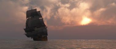 Het varen en zonsondergang royalty-vrije illustratie