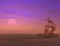 Het varen naar zonsondergang Stock Afbeelding