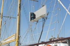 Het varen schip groen licht Royalty-vrije Stock Foto's
