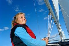 Het varen van de vrouw Stock Foto