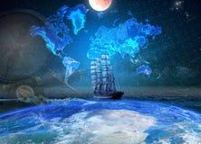 Het varen vier-masted schip op de achtergrond van geografisch m royalty-vrije stock foto