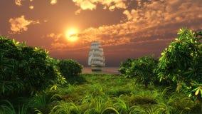 Het varende schip stock illustratie