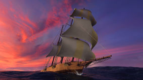 Het varende schip royalty-vrije illustratie