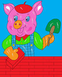 Het varken bouwt een huis Royalty-vrije Stock Foto