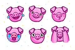 Het varken is een symbool van het nieuwe jaar van 2019 Hoofd van het Emoji-Varken in pop-artstijl royalty-vrije illustratie