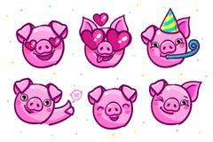 Het varken is een symbool van het nieuwe jaar van 2019 Hoofd van het Emoji-Varken in pop-artstijl stock illustratie