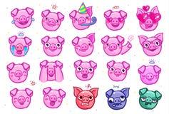 Het varken is een symbool van het nieuwe jaar van 2019 Hoofd van het Emoji-Varken in pop-artstijl vector illustratie
