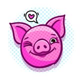Het varken is een symbool van het nieuwe jaar van 2019 Hoofd van het knipogende Varken in pop-artstijl royalty-vrije illustratie