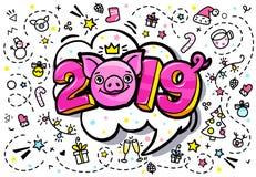 Het varken is een symbool van het nieuwe jaar van 2019 Hoofd van het Varken in pop-artstijl vector illustratie