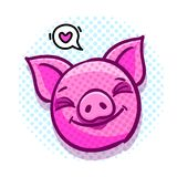 Het varken is een symbool van het nieuwe jaar van 2019 Hoofd van het Varken in pop-artstijl stock illustratie