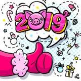 Het varken is een symbool van het nieuwe jaar van 2019 Santa Claus als in pop-artstijl Teken als in rode vuisthandschoen vector illustratie