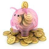 Het varken en de muntstukken van het glas Stock Afbeeldingen