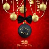 Het varken schittert embleem op Kerstmis decoratieve bal, Nieuwe jaar 2019 chi stock afbeeldingen
