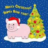 Het varken is het symbool van het jaar in de hoed van Kerstman dichtbij de Kerstboom Tekening, vectorillustratie stock illustratie