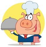 Het varken van de kelner in een chef-kokshoed Stock Afbeelding