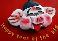 Het varken van het Chinese nieuwe jaar Stock Afbeelding
