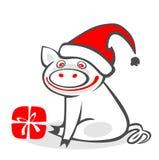Het varken van Kerstmis Stock Fotografie