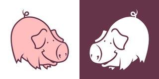 Het varkenskarakter van de beeldverhaalstokvoering Stock Afbeelding