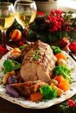 Het varkensvlees van het braadstuk met groenten Stock Foto