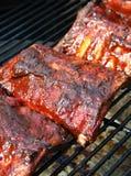 Het varkensvleesribben van de barbecue op een grill stock foto