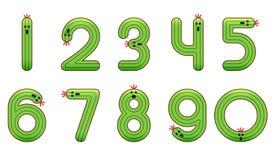 Het vastgestelde aantal van ontwerp nul tot negen in cactusthema Royalty-vrije Stock Afbeeldingen