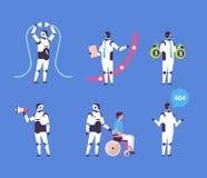 Het vastgestelde bot van de communicatie van de diversiteitsberoepen van de helperrobot persoonlijke hulp kunstmatige karakter in vector illustratie