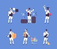 Het vastgestelde bot van de communicatie van de diversiteitsberoepen van de helperrobot persoonlijke hulp kunstmatige karakter in stock illustratie