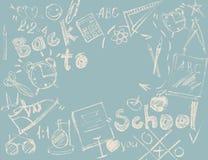 Het vastgestelde Concept van Schetssymbolen terug naar Schooltekening vector illustratie