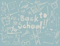 Het vastgestelde Concept van Schetssymbolen terug naar Schooltekening stock illustratie