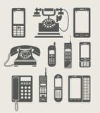 Het vastgestelde eenvoudige pictogram van de telefoon Royalty-vrije Stock Afbeelding