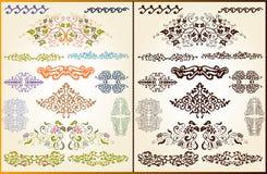 Het vastgestelde element van het het patroonsilhouet van de stijlinstallatie Royalty-vrije Stock Foto's