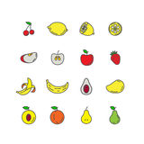 Het vastgestelde fruit van rassenbarrièrepictogrammen Banaan, appel, aardbei, kers Vector Illustratie