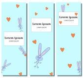 Het vastgestelde gelukkige karakter van de illustratie verticale banner met Hazen verbergt het grijze hart van de Konijntjesomhel vector illustratie