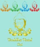 Het vastgestelde hoofd van kleurenboedha op lotusbloembloem Royalty-vrije Stock Afbeelding
